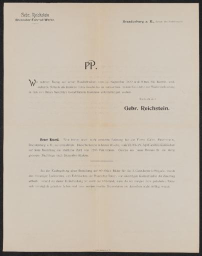 Brennabor-Fahrrad-Werke  Händlerrundbrief 1899
