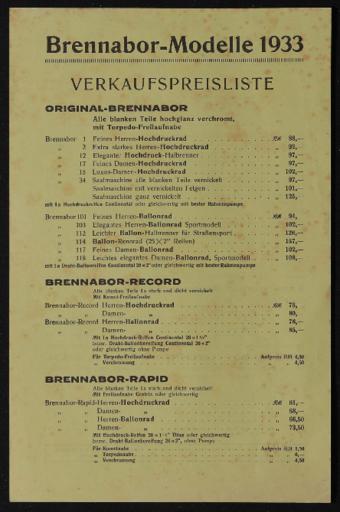 Brennabor-Modelle 1933 Verkaufspreisliste 1933