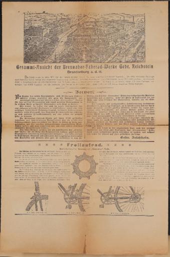 Brennabor-Räder Werbeblatt 1900