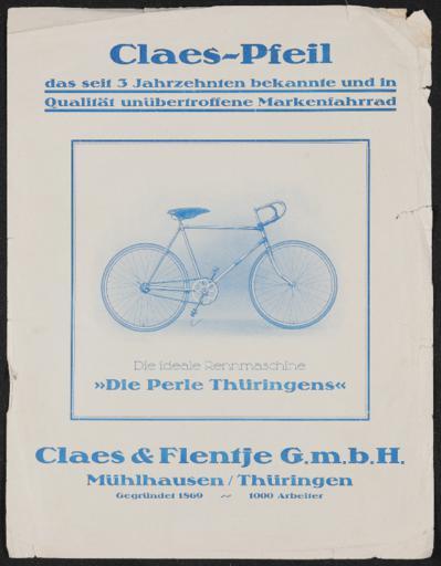 Claes u. Flentje Claes-Pfeil Rennmaschine Werbeblatt ca. 1920er Jahre