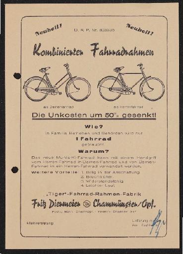 Diermeier kombinierter Fahrradrahmen Prospekt 1950