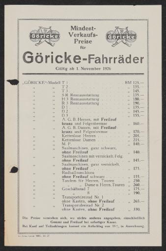 Göricke Fahrräder Preisliste 1926