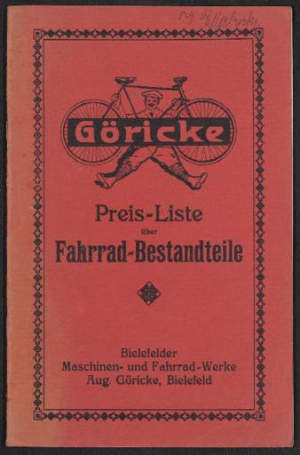 Göricke Fahrrad-Bestandteile Preisliste 1920er Jahre