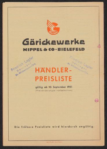 Göricke Preisliste 1951