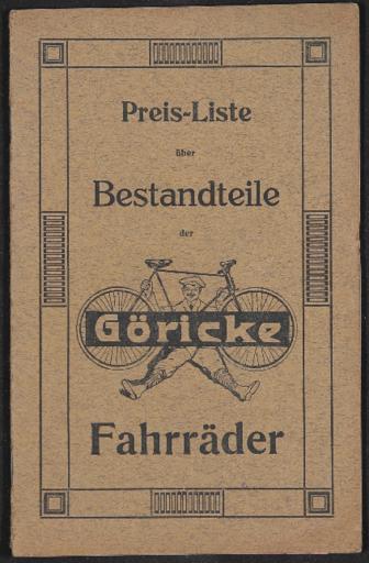 Göricke Preisliste Bestandteile Göricke Fahrräder 1912