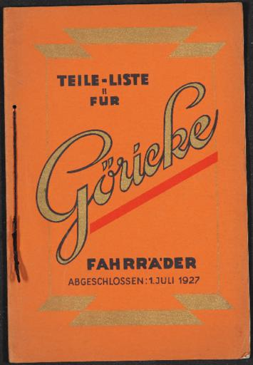 Göricke Preisliste Teile-Liste Göricke Fahrräder 1927