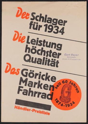 Göricke Preislisten 1934