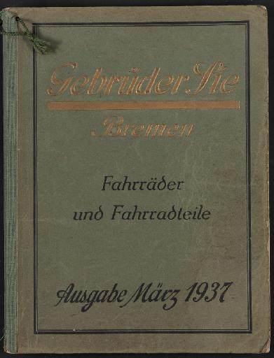 Gebrüder Sie Bremen Katalog 1937