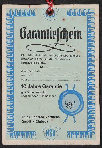 NSU Garantieschein 1960er Jahre