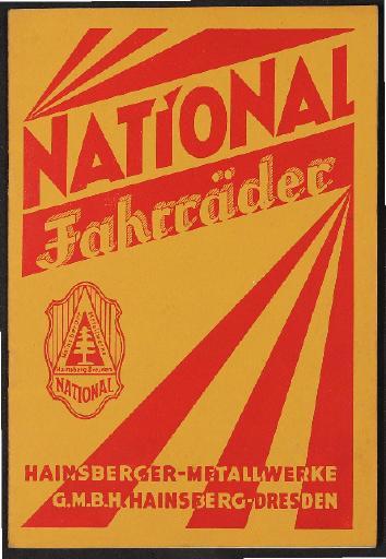 National Fahrräder Katalog 1928