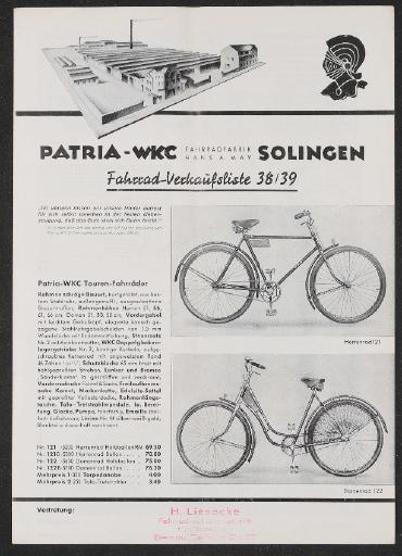 Patria WKC Preisliste 1938