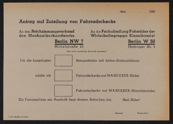 Wanderer Antrag auf Zuteilung 1940