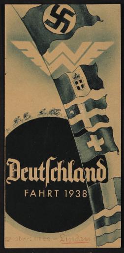 Wanderer Faltblatt Deutschlandfahrt 1938