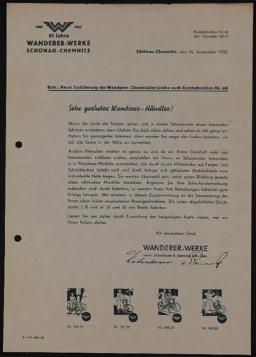 Wanderer Händlerrundschreiben 1935-1937