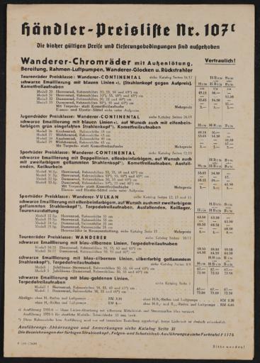 Wanderer Preislisten 1930er Jahre